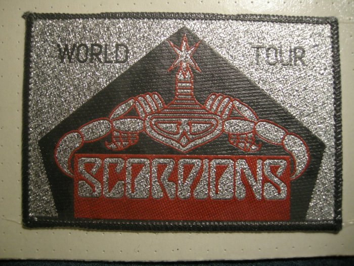 SCORPIONS sew-on PATCH World Tour red/silver moc VINTAGE