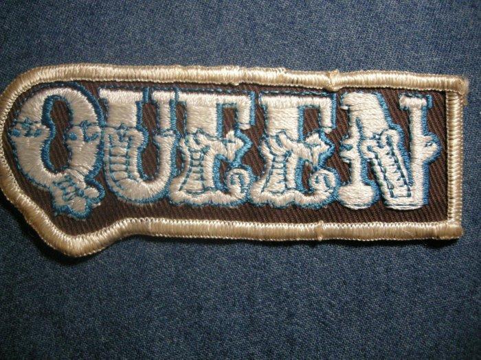 QUEEN iron-on PATCH white/blue logo freddie mercury VINTAGE 70s