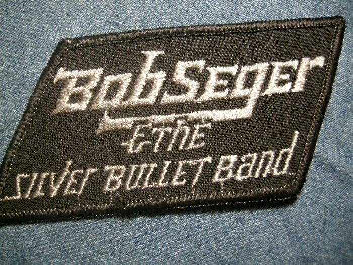 BOB SEGER iron-on PATCH grey/black logo Silver Bullet Band VINTAGE