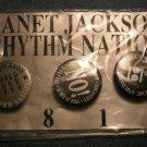 JANET JACKSON PINBACK BUTTON SET 3 1990 Tour Rhythm Nation 1814 SALE