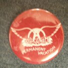 AEROSMITH PINBACK BUTTON Permanent Vacation red VINTAGE