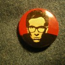 ELVIS COSTELLO PINBACK BUTTON red face small VINTAGE