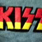 KISS iron-on PATCH die cut yellow/red logo VINTAGE