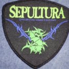 SEPULTURA sew-on PATCH green spiked logo IMPORT