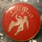 LED ZEPPELIN TACK PIN red/white swan song logo button VINTAGE