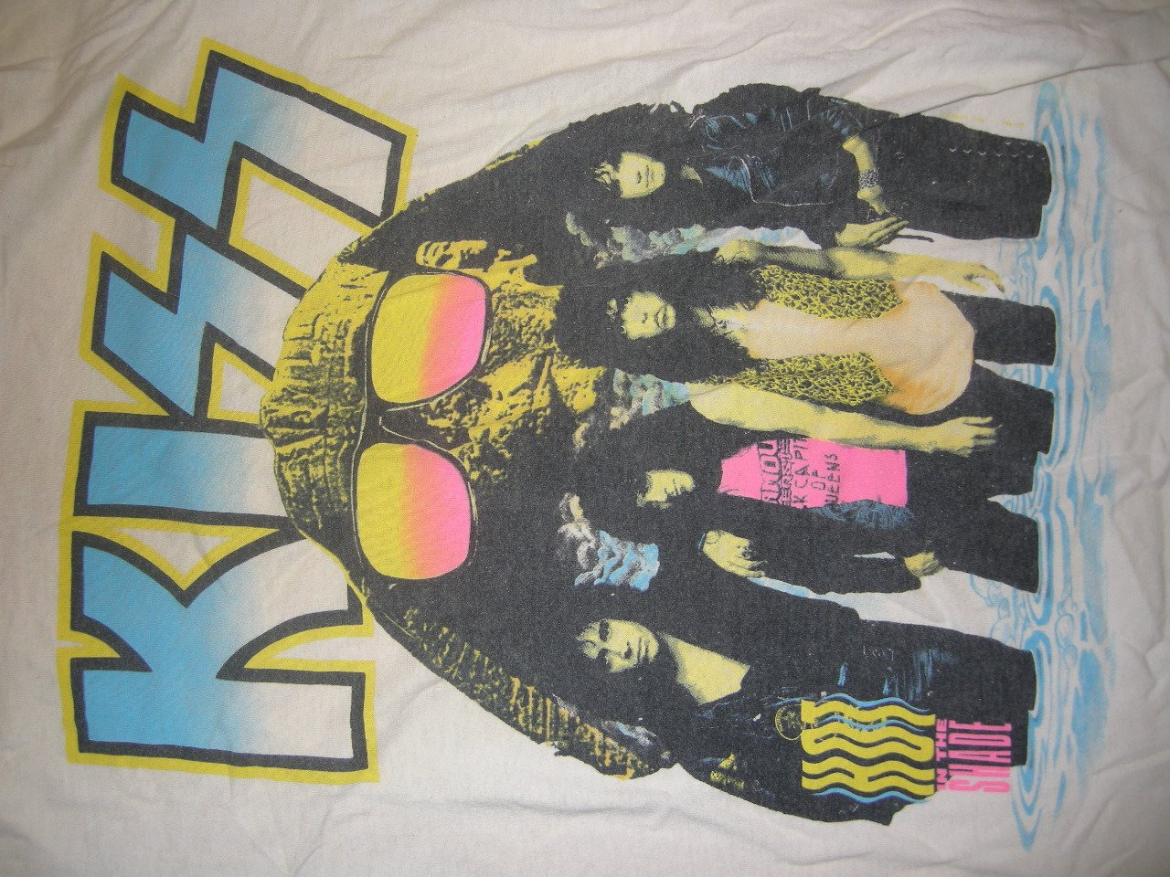 KISS 1990 TOUR SHIRT Hot In The Shade white M VINTAGE SALE