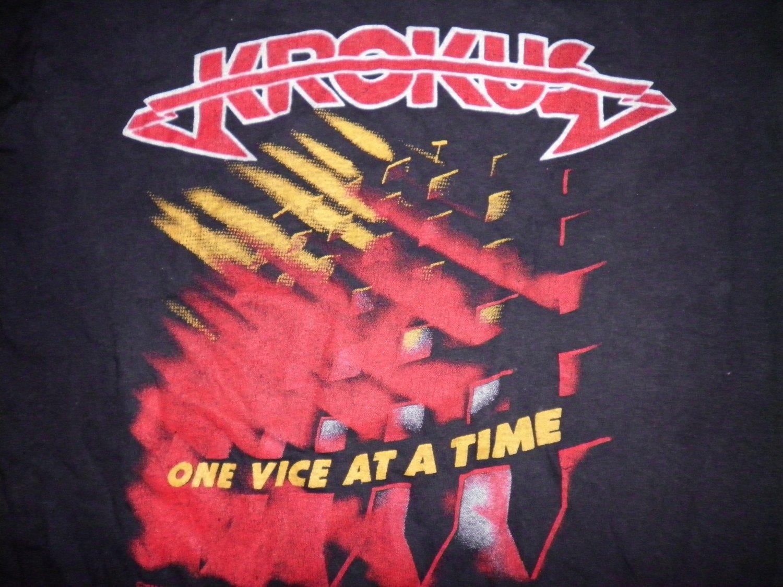 KROKUS SHIRT One Vice At A Time World Tour 1982 M VINTAGE