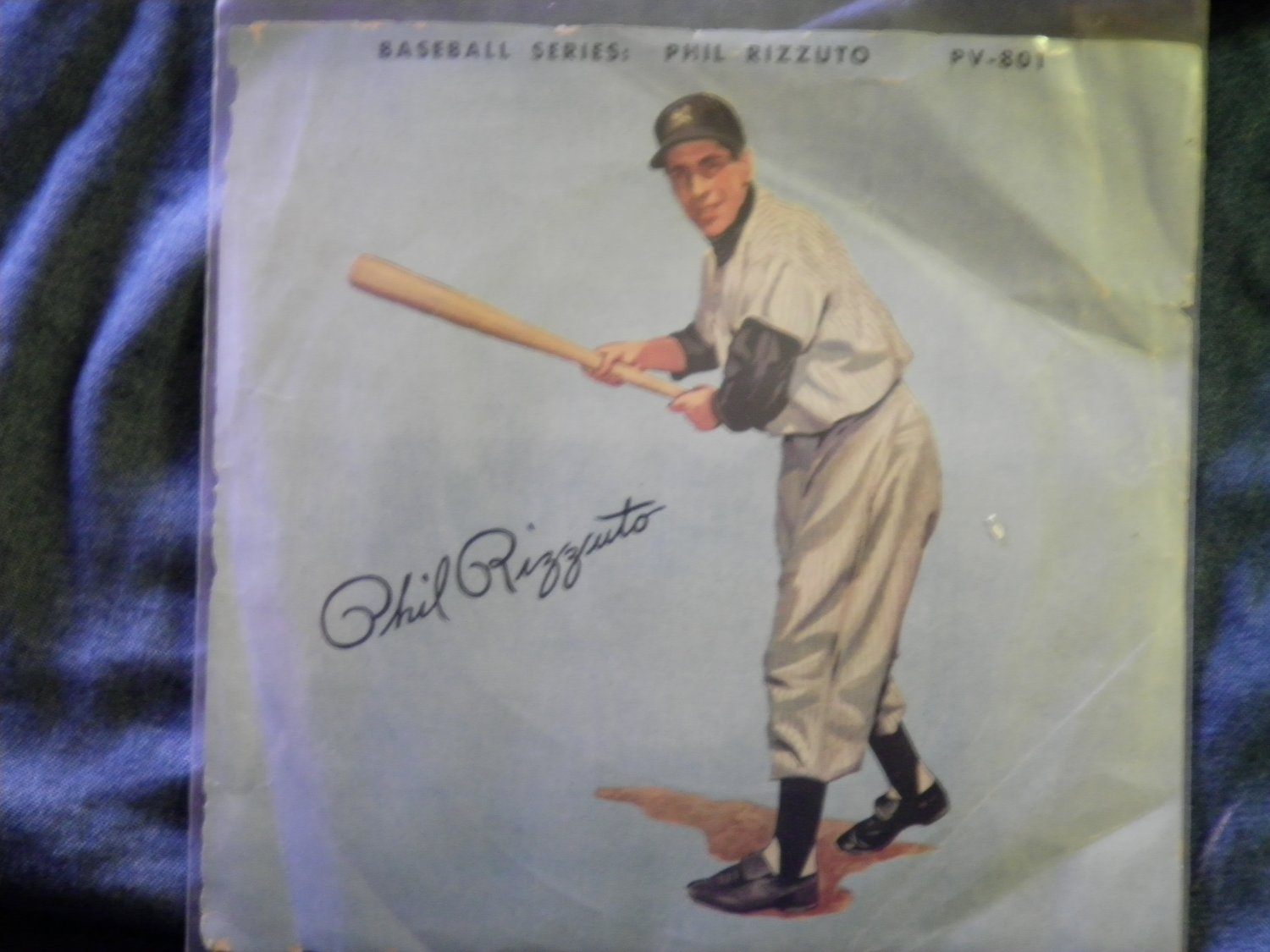 45 PHIL RIZZUTO Baseball Series vintage red vinyl record W/PICTURE SLEEVE