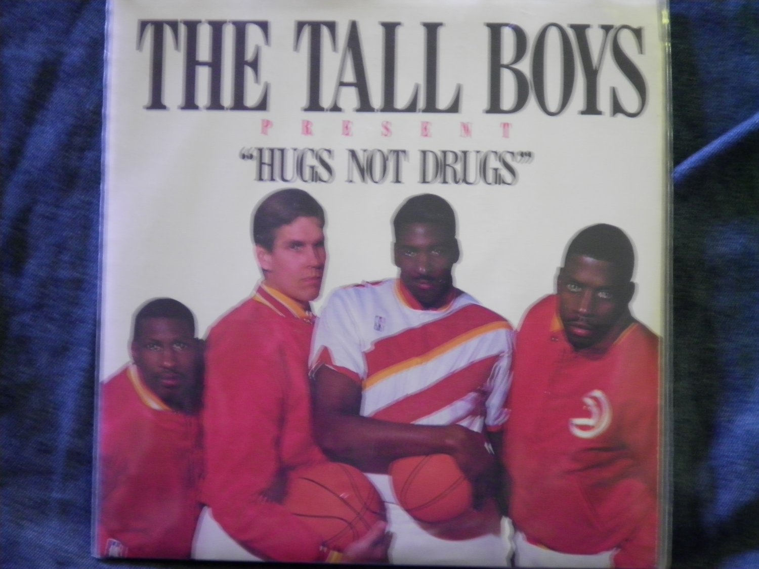 45 THE TALL BOYS Hugs Not Drugs atlanta hawks basketball promo 1988 vinyl record W/PICTURE SLEEVE