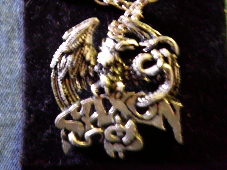 SAXON NECKLACE eagle & snake logo VINTAGE