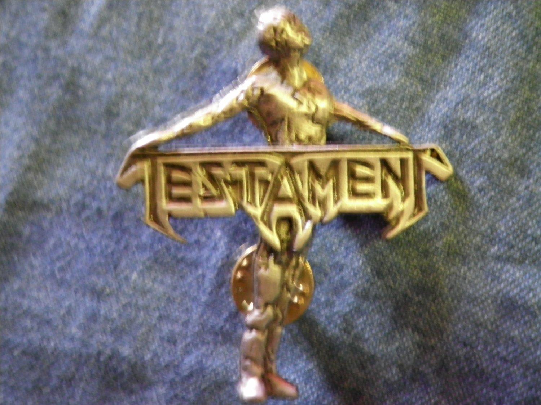 TESTAMENT METAL PIN Practice What You Preach badge VINTAGE