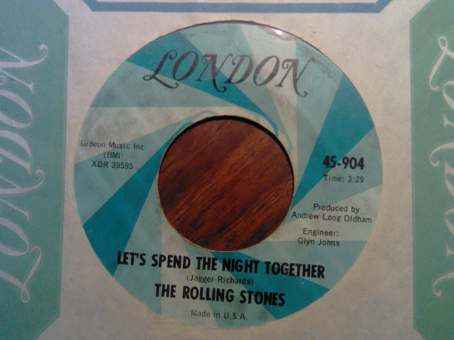 45 THE ROLLING STONES let's spend the night together b/w ruby tuesday london vintage vinyl record