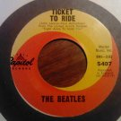 45 THE BEATLES Ticket To Ride b/w Yes It Is vintage vinyl record