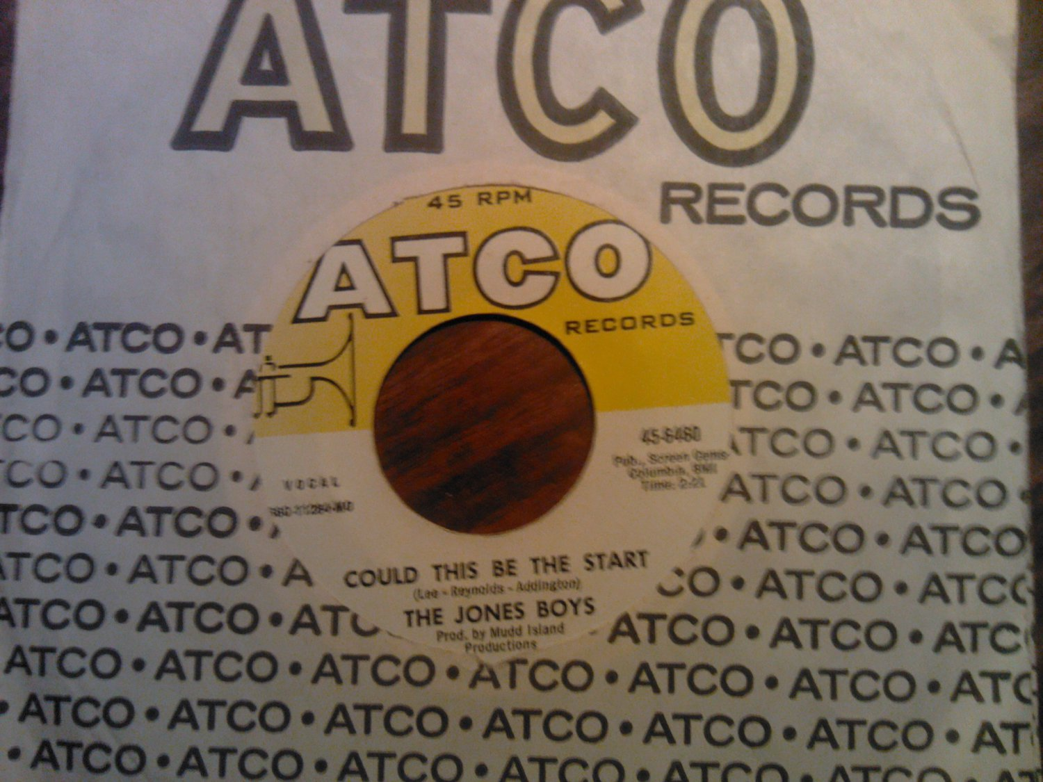 45 THE JONES BOYS Could This Be The Start b/w If I Ever Find The Time atco vintage vinyl record