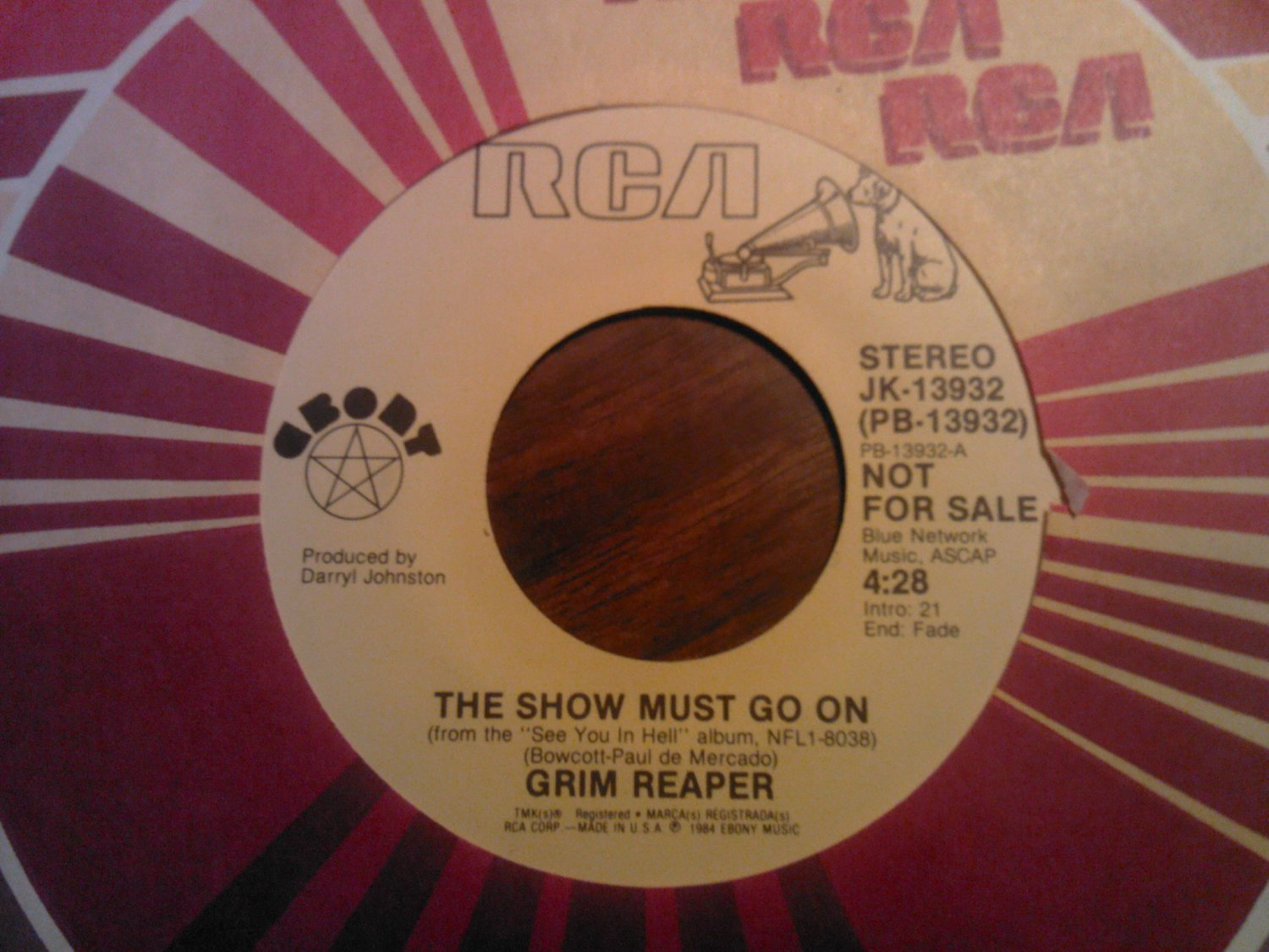 45 GRIM REAPER The Show Must Go On metal vintage vinyl record PROMO