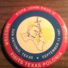 POPE JOHN PAUL II PINBACK BUTTON San Antonio Texas polonia witamy 1987 VINTAGE