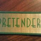 PRETENDERS sew-on PATCH green logo chrissie hynde VINTAGE