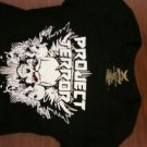 PROJECT TERROR SHIRT I was born a hellraiser metal rock band texas ladies shortie sleeve NEW SMALL