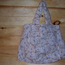 Tan and White Roses Ladies Pleated Tote
