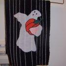 Ghost Holding Pumpkin Appliqued Kitchen Towel