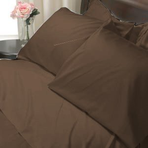 100%Egyptian Cotton Color Cocoa 600TC Twin Solid Sheet Set