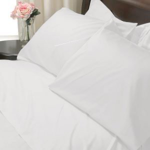 100%Egyptian Cotton Color White 600TC Twin Solid Sheet Set