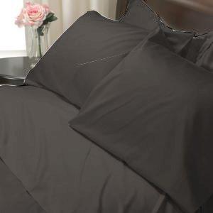 100%Egyptian Cotton Color  Black 1200TC Queen Solid Sheet Set