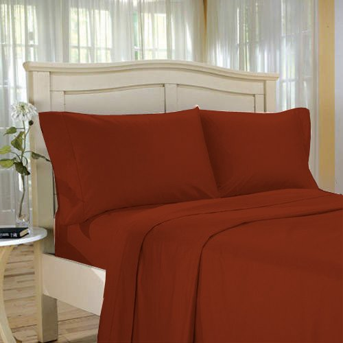 SHEET SET KING SOLID 100%Egyptian Cotton Color  Cardinal 1000TC.