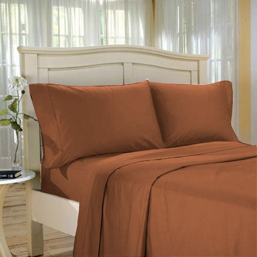 100%Egyptian Cotton Color  Brick  1000 TC Twin Size Solid Sheet Set.