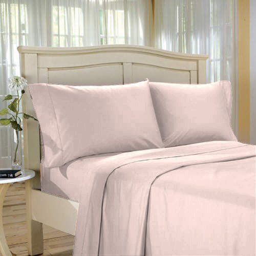 100%Egyptian Cotton Color  Rose  1000 TC Twin Size Solid Sheet Set.