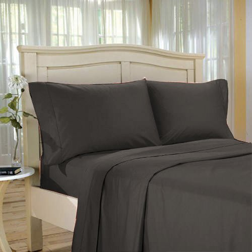 100%Egyptian Cotton Color  Black  1200 TC Twin Size Solid Sheet Set.