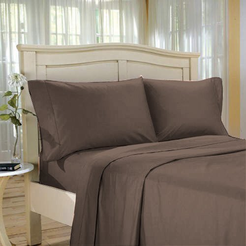 100%Egyptian Cotton Color  Chocolate  1200 TC Twin Size Solid Sheet Set.