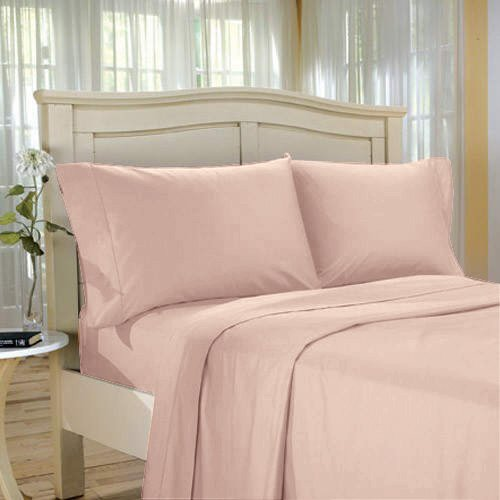 100%Egyptian Cotton Color  Blush  1500 TC Twin Size Solid Sheet Set.