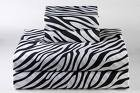 SHEET SET KING SOLID 100% Egyptian Cotton, Color Zebra Print(FITTED WHITE COLOR) 1000 TC.