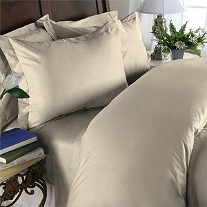 Duvet Cover With Pillow Sham Queen Solid 100% Egyptian Cotton, Color Ivory, TC 1000.