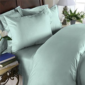 Duvet Cover With Pillow Sham Queen Solid 100% Egyptian Cotton, Color  Meadow, TC 1000.