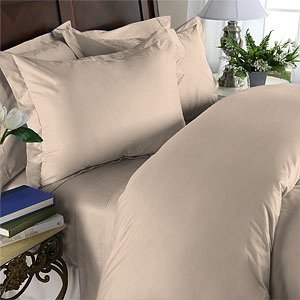 Duvet Cover With Pillow Sham Queen Solid 100% Egyptian Cotton, Color  Linen, TC 800.
