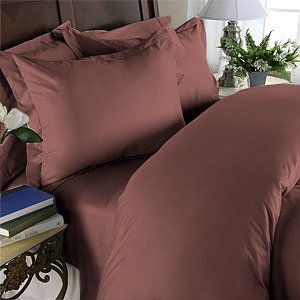 Duvet Cover With Pillow Sham Queen Solid 100% Egyptian Cotton, Color  Deep Red Wood, TC 800.