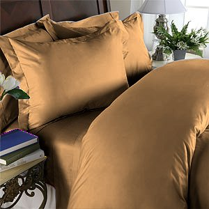 Duvet Cover With Pillow Sham Queen Solid 100% Egyptian Cotton, Color  Bronze, TC 800.