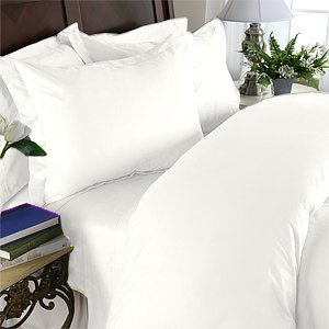Duvet Cover With Pillow Sham Queen Solid 100% Egyptian Cotton, Color  White, TC 600.