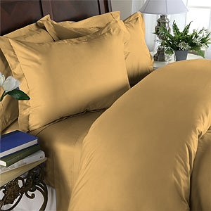 Duvet Cover With Pillow Sham Queen Solid 100% Egyptian Cotton, Color  Gold, TC 600.