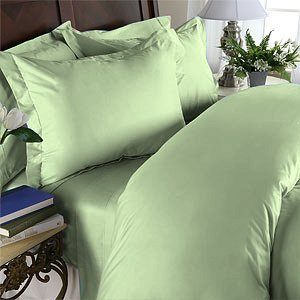 Duvet Cover With Pillow Sham Queen Solid 100% Egyptian Cotton, Color  Leaf, TC 600.