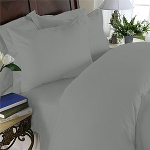 Duvet Cover With Pillow Sham Queen Solid 100% Egyptian Cotton, Color  Platinum, TC 600.