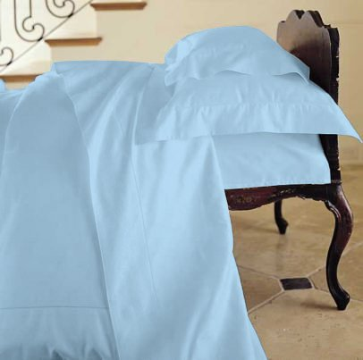 Duvet Cover Solid 100% Egyptian Cotto, Color Blue, TC- 600, Size Twin.