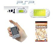 "Sony PSP ""Limited Edition"" Ceramic White ""Sudoku Bundle"" - 1 PSP Game + 1 Key Chain Sudoku Game"