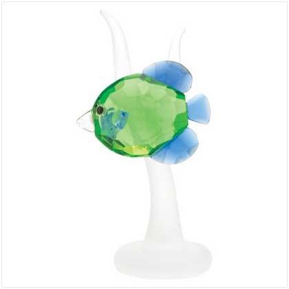 Green Fish Crystal Cut Figurine
