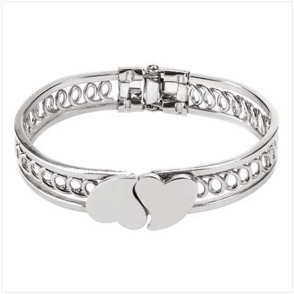 Double Heart Bangle Bracelet