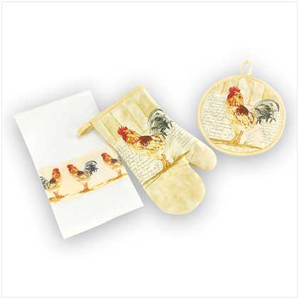Rooster Kitchen Textile Set