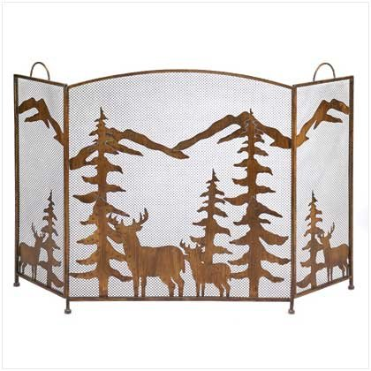 Rustic Forrest Fireplace Screen