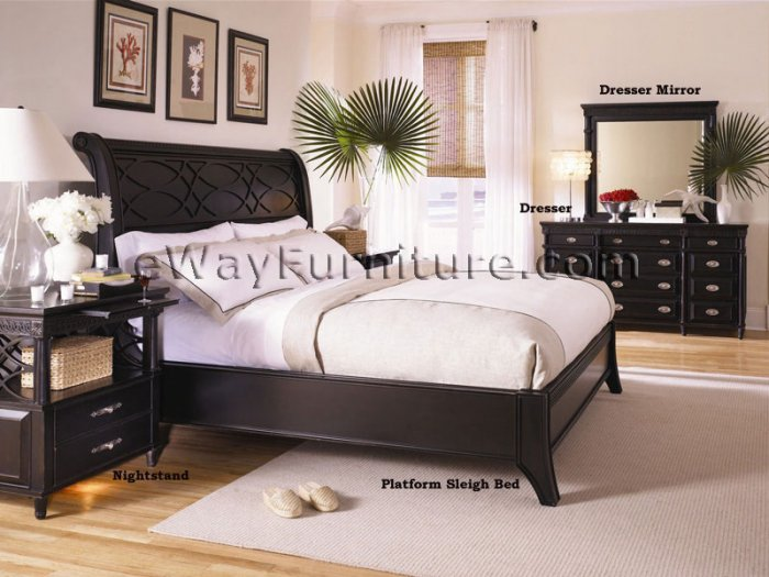 Black Platform Sleigh Bed Master Bedroom Set
